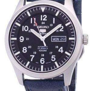 Seiko 5 Sports SNZG15K1-LS13 Automatic Dark Blue Leather Strap Men's Watch