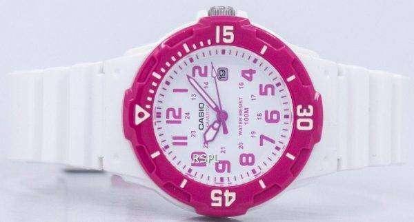 Casio Analog Hot Pink White Dial LRW-200H-4BVDF LRW-200H-4BV Womens Watch