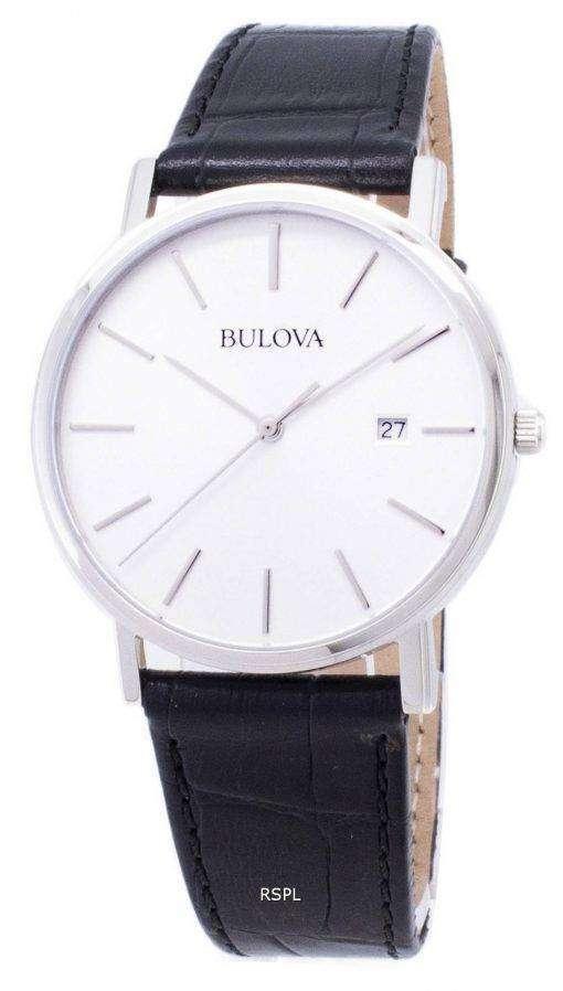 Bulova Black Leather 96B104 Mens Watch