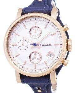 Fossil Original Boyfriend Quartz Chronograph Blue Leather Strap ES3838 Womens Watch