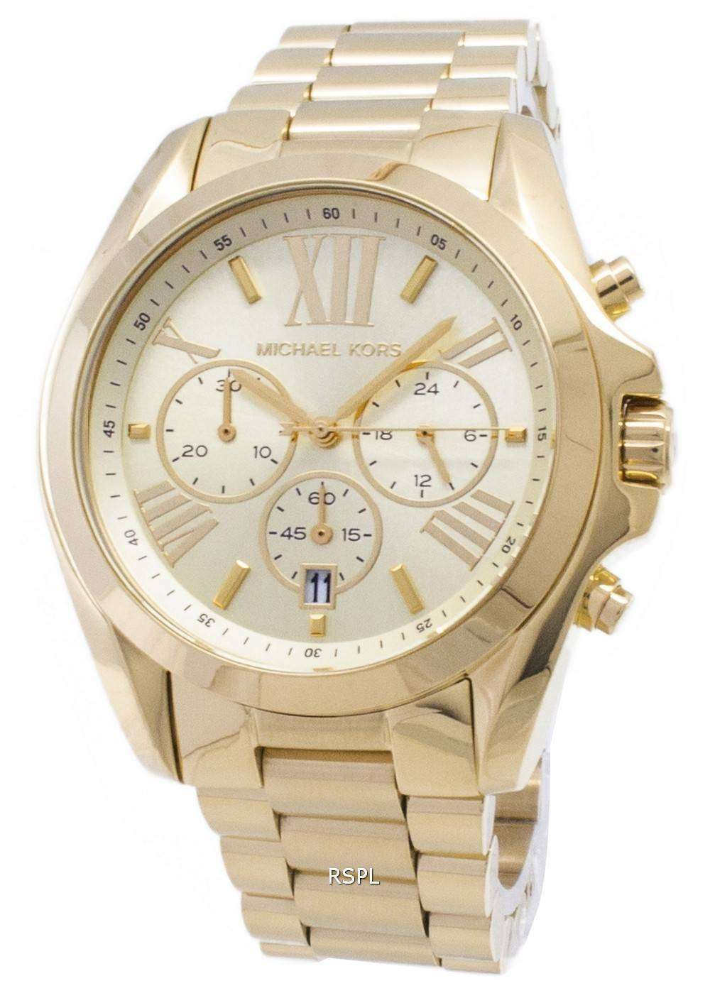 0aa5ddcc7b39 Michael Kors Bradshaw Chronograph Gold-Tone MK5605 Unisex Watch ...