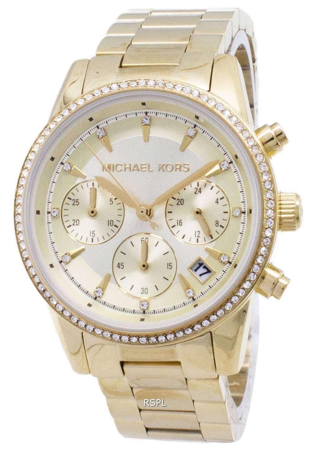 65b4b449d40a Michael Kors Ritz Chronograph Quartz Diamond Accents MK6356 Women s Watch