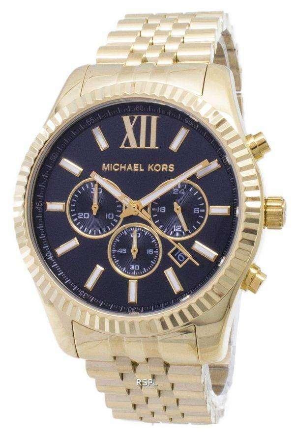 Michael Kors Lexington Chronograph Black Dial Gold-tone MK8286 Mens Watch