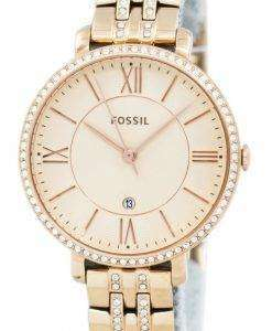 Fossil Jacqueline Quartz Rose Gold Crystals Accents ES3546 Womens Watch