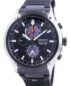 Seiko Sportura World Time Solar Chronograph SSC483 SSC483P1 SSC483P Mens Watch