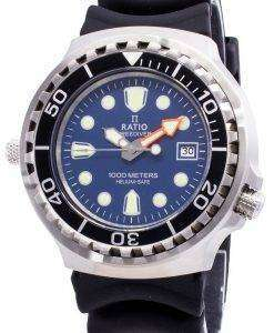 Ratio Free Diver Helium Safe 1000M Sapphire Quartz 1038EF102V-BLU Men's Watch