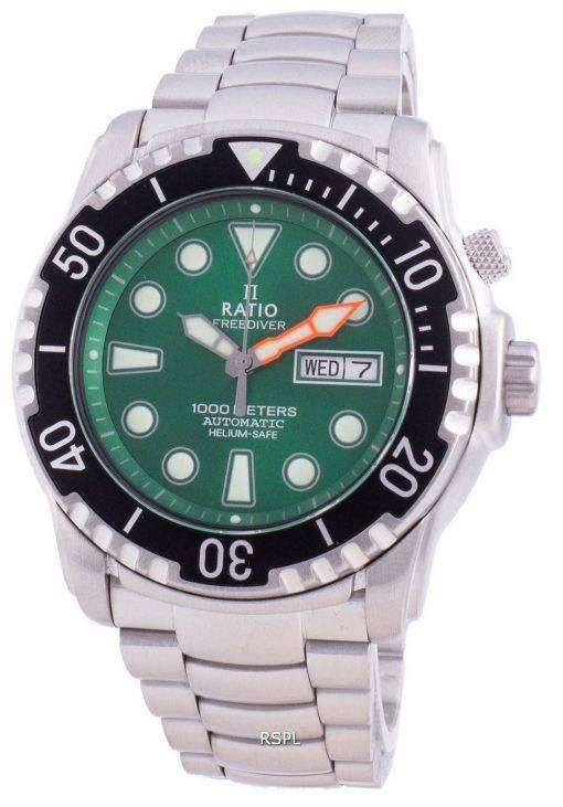 Ratio Free Diver Helium-Safe 1000M Sapphire Automatic 1068HA96-34VA-GRN Men's Watch