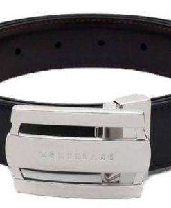 Montblanc 103431 Contemporary Line Rectangular Buckle Black/Brown Men's Reversible Leather Belt