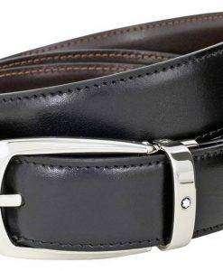Montblanc 112960 Men's Reversible Black/Brown Leather Horseshoe Belt
