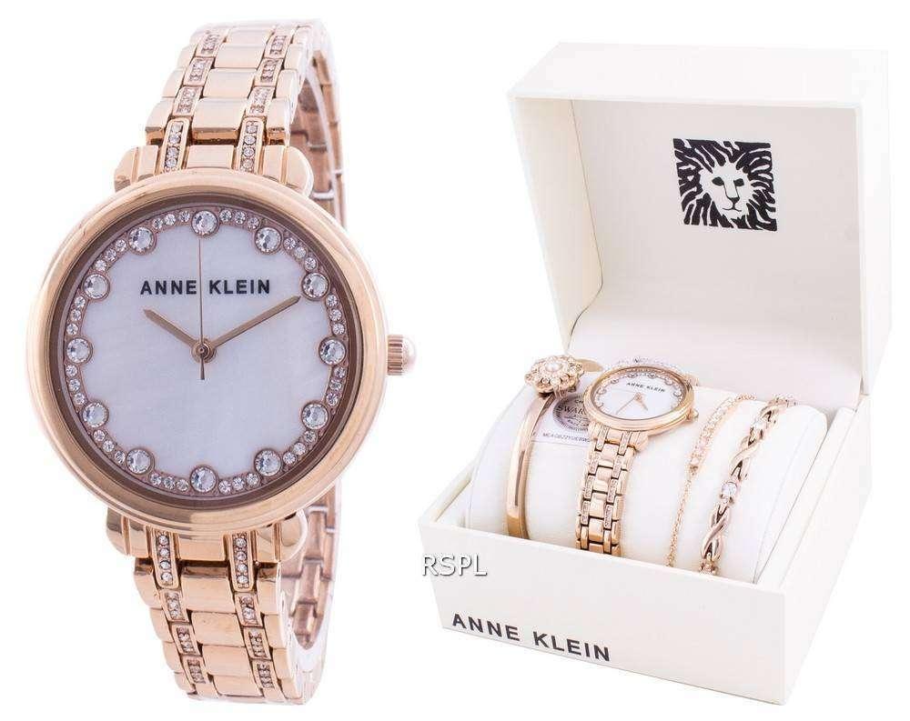 Anne Klein Swarovski Crystal Accented 3488RGST Quartz With Gift Set Women's Watch