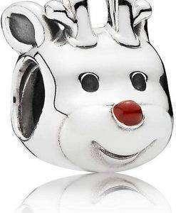 PANDORA 791781EN39 Reindeer Silver Charm With Red Enamel Women's
