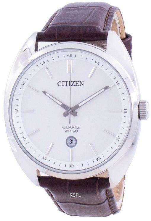 Citizen White Dial Leather Strap Quartz BI5090-09A Men's Watch