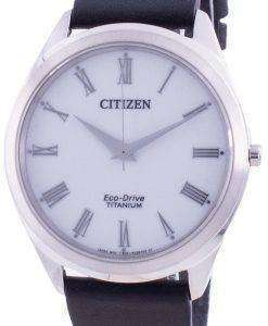 Citizen White Dial Leather Strap Eco-Drive BJ6520-15A Men's Watch