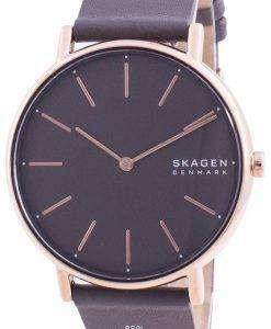Skagen Signatur Grey Dial Charcoal Leather Strap Quartz SKW2794 Womens Watch