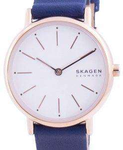 Skagen Signatur White Dial Blue Leather Strap Quartz SKW2838 Womens Watch