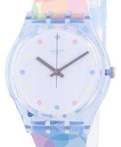 Swatch Bordujas White Dial Silicone Strap Quartz GS159 Womens Watch