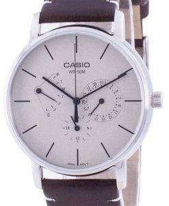 Casio White Dial Leather Strap Quartz MTP-E320L-5E MTPE320L-5 Mens Watch