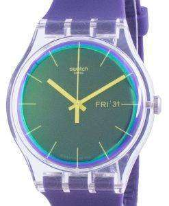 Swatch Polapurple Purple Dial Silicone Strap Quartz SUOK712 Mens Watch