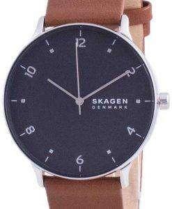 Skagen Riis Black Dial Leather Strap Quartz SKW6663 Mens Watch