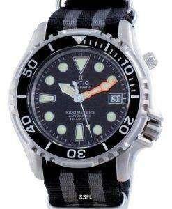 Ratio Free Diver Helium Safe Nylon Automatic Diver's 1066KE20-33VA-BLK-var-NATO1 1000M Men's Watch