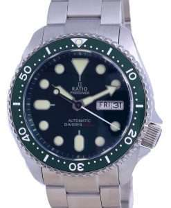 Ratio FreeDiver Green Dial Sapphire Stainless Steel Automatic RTA105 200M Mens Watch