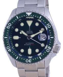 Ratio FreeDiver Green Dial Sapphire Stainless Steel Automatic RTB205 200M Mens Watch