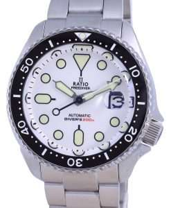 Ratio FreeDiver White Dial Sapphire Stainless Steel Automatic RTB209 200M Mens Watch