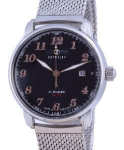 Zeppelin LZ127 Graf Black Dial Stainless Steel Automatic 7656M-2 7656M2 Men's Watch
