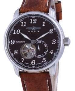 Zeppelin LZ127 Graf Open Heart Leather Automatic 7666-4 76664 Men's Watch