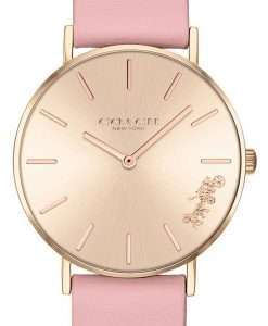 Coach Perry Gold Tone Dial Leather Strap Quartz 14503332 Womens Watch