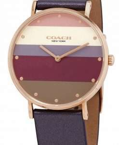 Coach Perry Multicolor Dial Leather Strap Quartz 14503470 Womens Watch