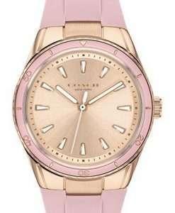 Coach Preston Carnation Gold Tone Dial Silicon Strap Quartz 14503574 Womens Watch