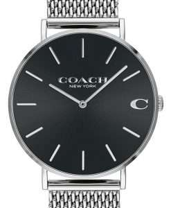 Coach Charles Black Dial Stainless Steel Quartz 14602144 Mens Watch