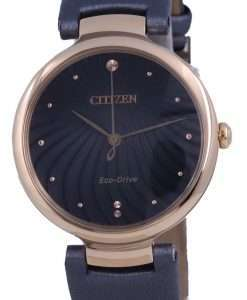 Citizen Black Dial Gold Tone Stainless Steel Eco-Drive EM0853-14H Womens Watch